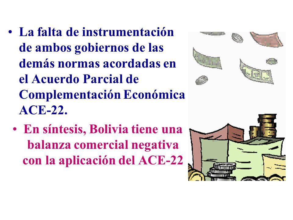 La falta de instrumentación de ambos gobiernos de las demás normas acordadas en el Acuerdo Parcial de Complementación Económica ACE-22.