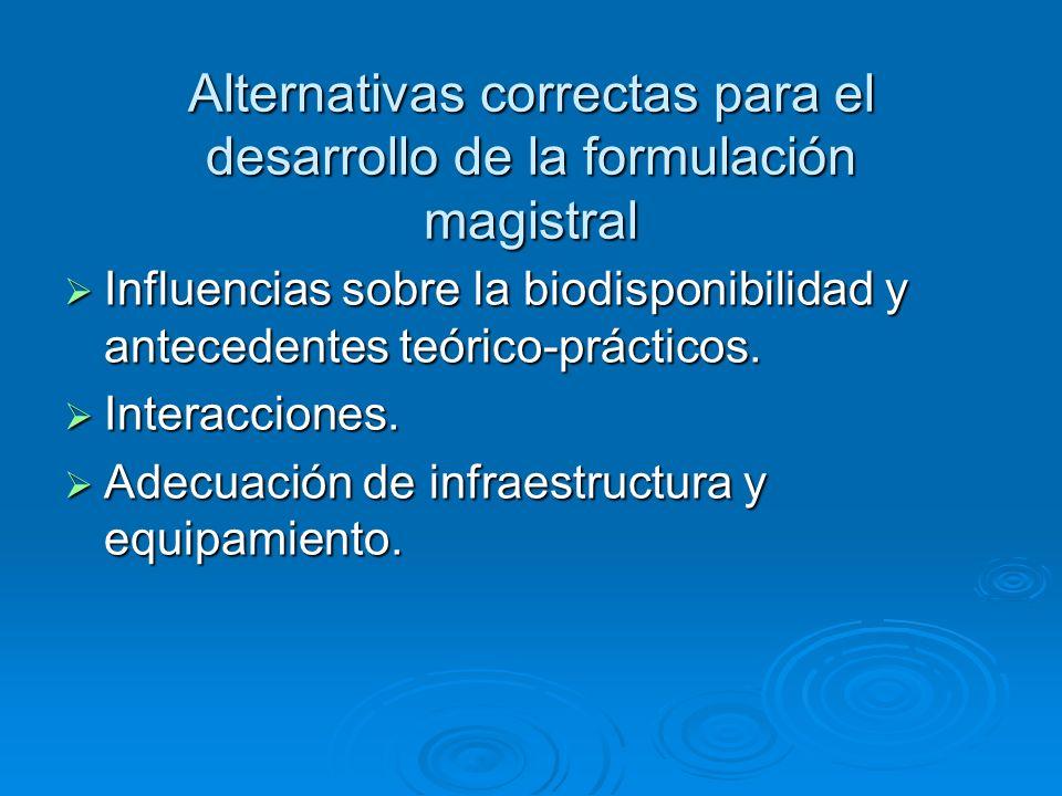 Alternativas correctas para el desarrollo de la formulación magistral