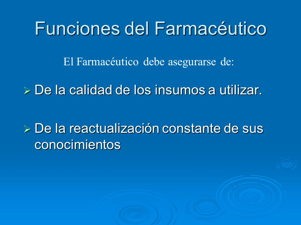 Funciones del Farmacéutico