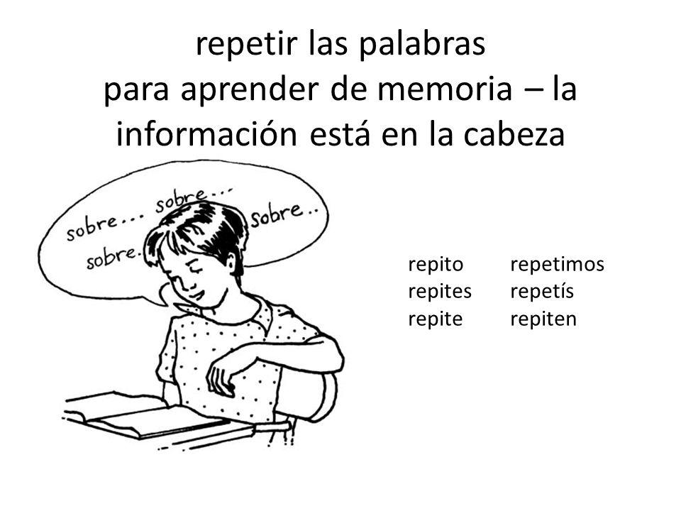 repetir las palabras para aprender de memoria – la información está en la cabeza