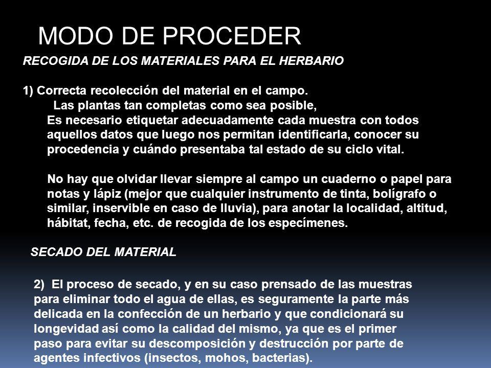 MODO DE PROCEDER RECOGIDA DE LOS MATERIALES PARA EL HERBARIO