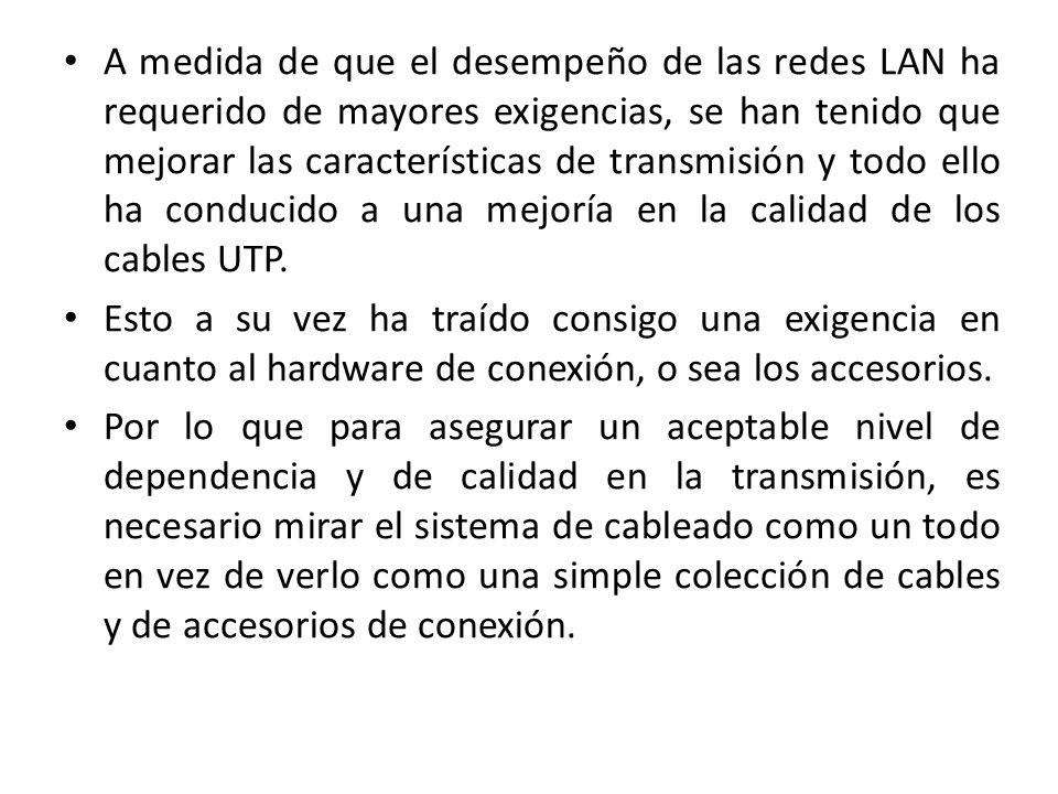 A medida de que el desempeño de las redes LAN ha requerido de mayores exigencias, se han tenido que mejorar las características de transmisión y todo ello ha conducido a una mejoría en la calidad de los cables UTP.