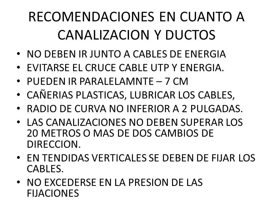 RECOMENDACIONES EN CUANTO A CANALIZACION Y DUCTOS