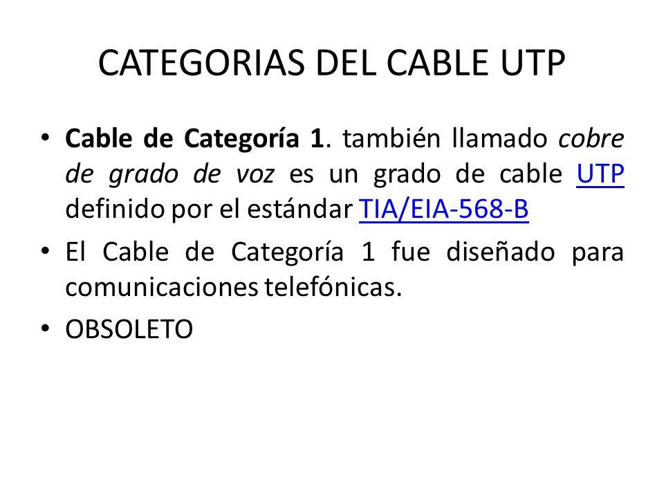 CATEGORIAS DEL CABLE UTP