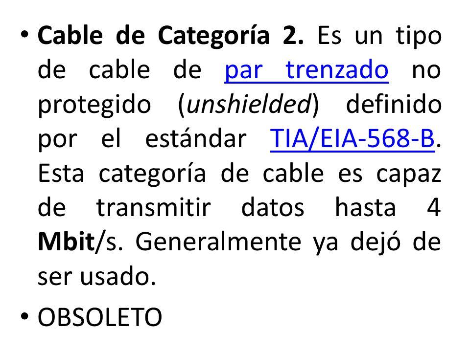 Cable de Categoría 2. Es un tipo de cable de par trenzado no protegido (unshielded) definido por el estándar TIA/EIA-568-B. Esta categoría de cable es capaz de transmitir datos hasta 4 Mbit/s. Generalmente ya dejó de ser usado.