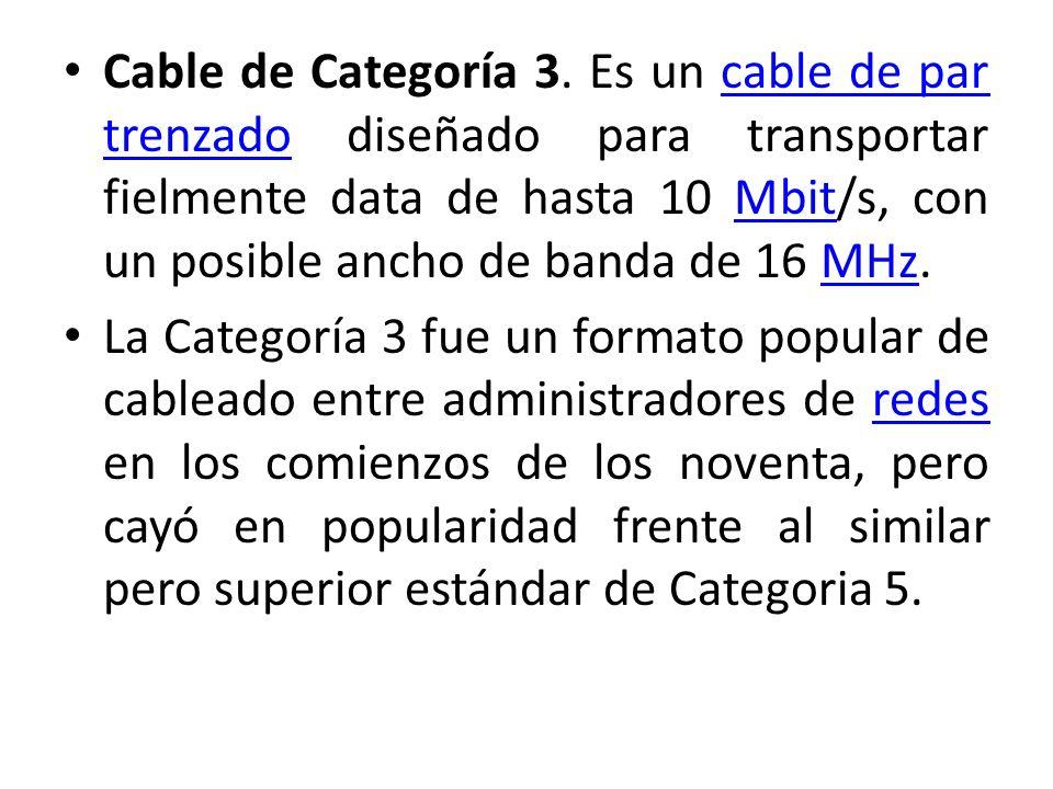 Cable de Categoría 3. Es un cable de par trenzado diseñado para transportar fielmente data de hasta 10 Mbit/s, con un posible ancho de banda de 16 MHz.