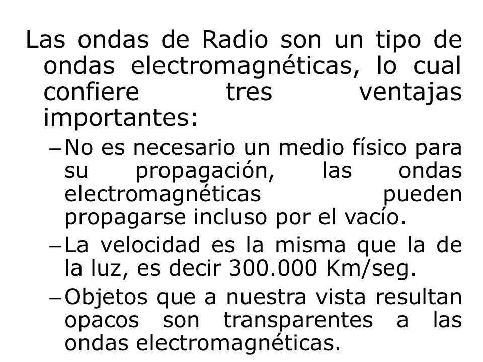 Las ondas de Radio son un tipo de ondas electromagnéticas, lo cual confiere tres ventajas importantes: