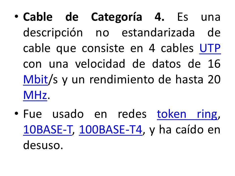 Cable de Categoría 4. Es una descripción no estandarizada de cable que consiste en 4 cables UTP con una velocidad de datos de 16 Mbit/s y un rendimiento de hasta 20 MHz.