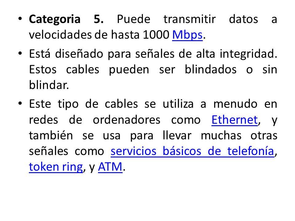 Categoria 5. Puede transmitir datos a velocidades de hasta 1000 Mbps.