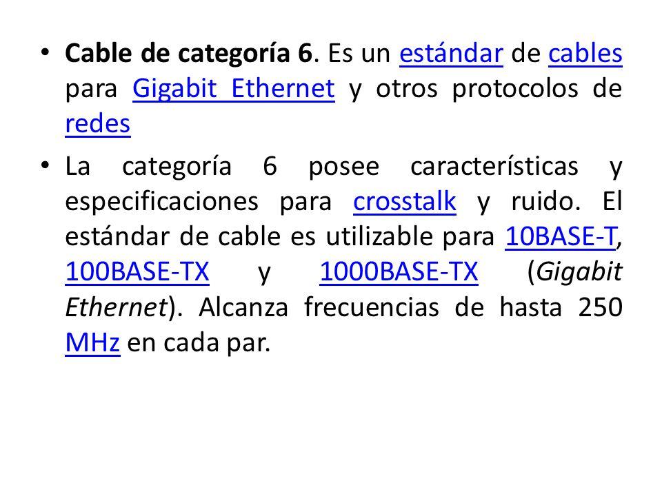 Cable de categoría 6. Es un estándar de cables para Gigabit Ethernet y otros protocolos de redes
