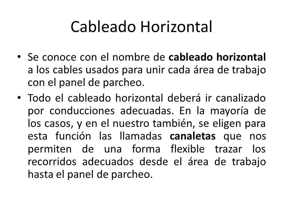 Cableado Horizontal Se conoce con el nombre de cableado horizontal a los cables usados para unir cada área de trabajo con el panel de parcheo.