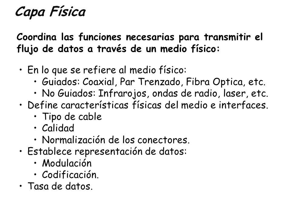 Capa Física Coordina las funciones necesarias para transmitir el flujo de datos a través de un medio físico: