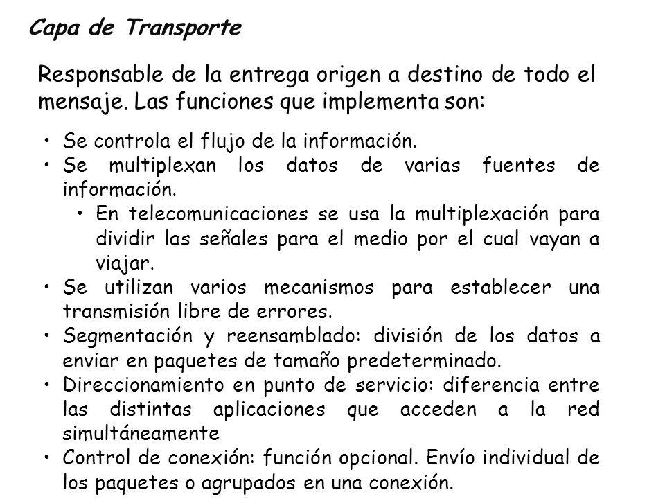 Capa de TransporteResponsable de la entrega origen a destino de todo el mensaje. Las funciones que implementa son: