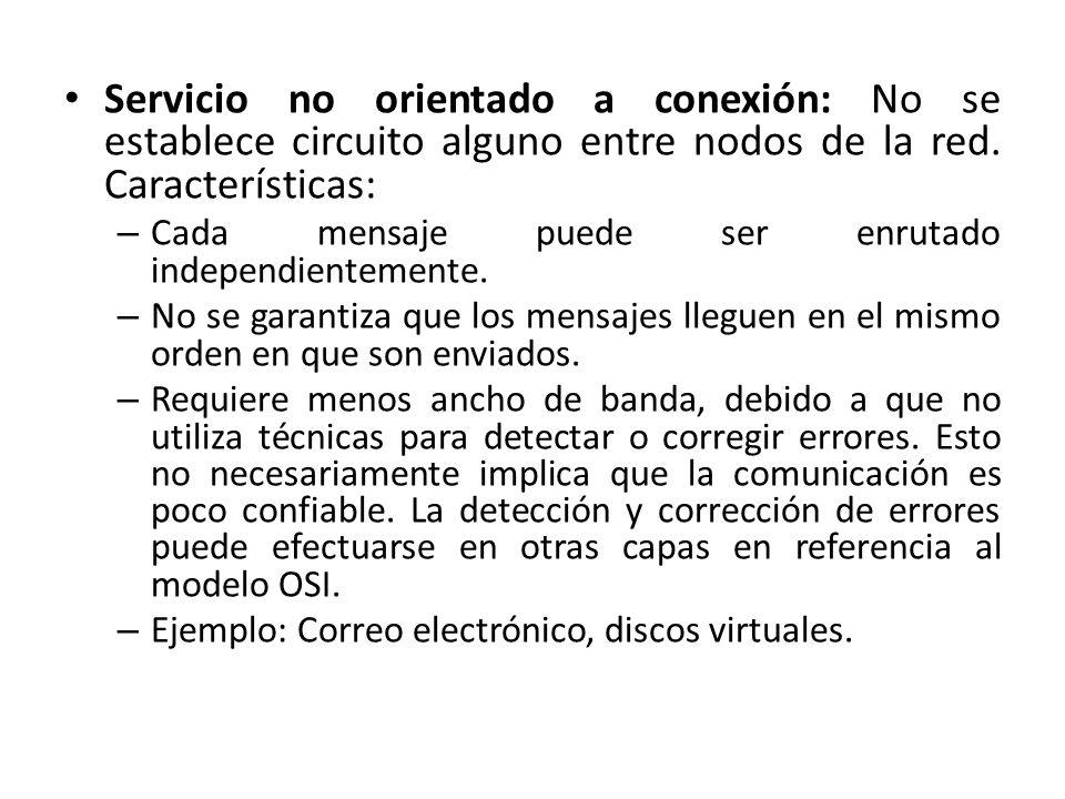 Servicio no orientado a conexión: No se establece circuito alguno entre nodos de la red. Características: