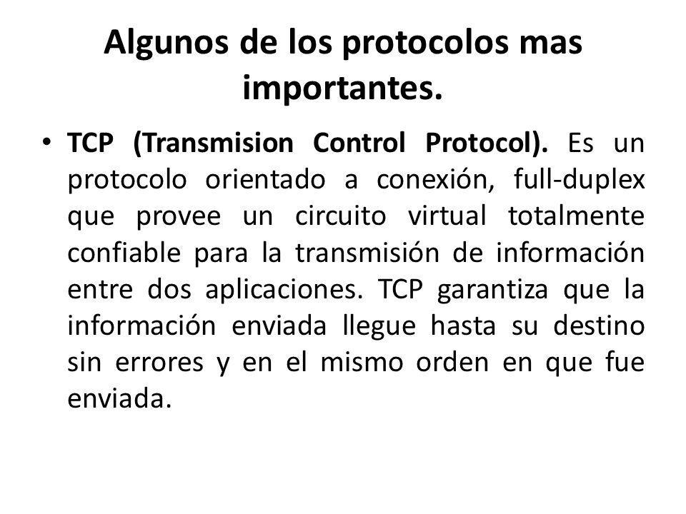Algunos de los protocolos mas importantes.