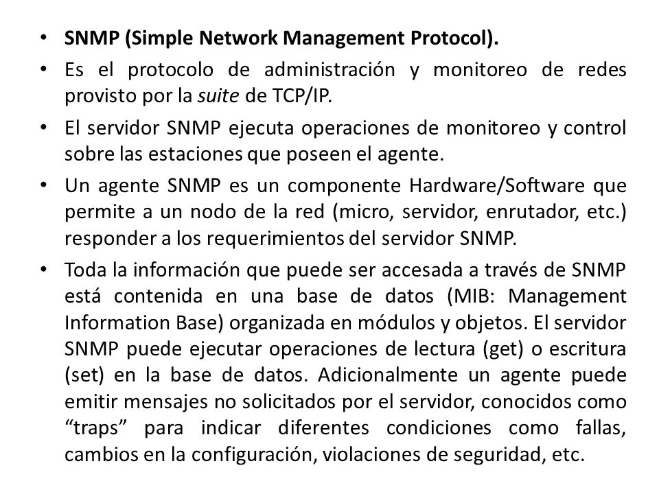 SNMP (Simple Network Management Protocol).