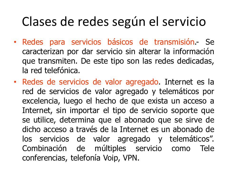 Clases de redes según el servicio