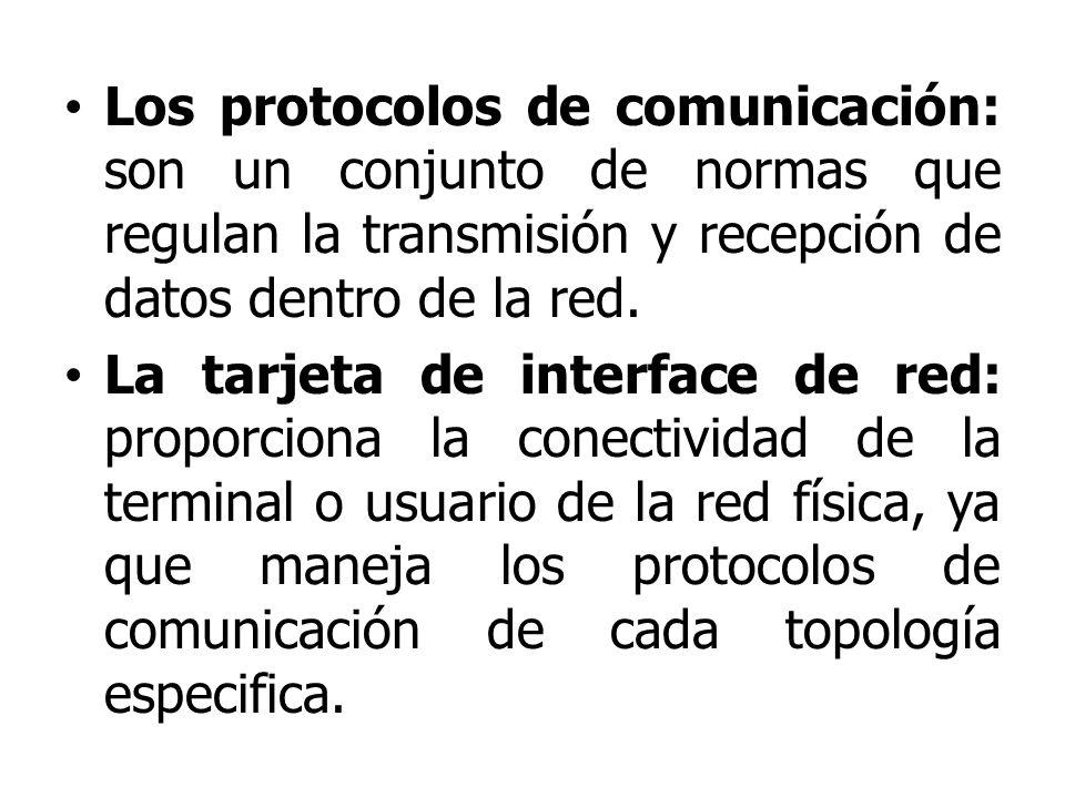 Los protocolos de comunicación: son un conjunto de normas que regulan la transmisión y recepción de datos dentro de la red.