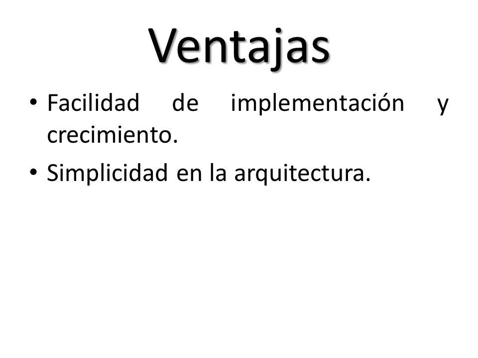 Ventajas Facilidad de implementación y crecimiento.