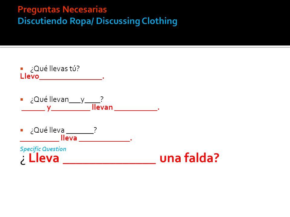 Preguntas Necesarias Discutiendo Ropa/ Discussing Clothing