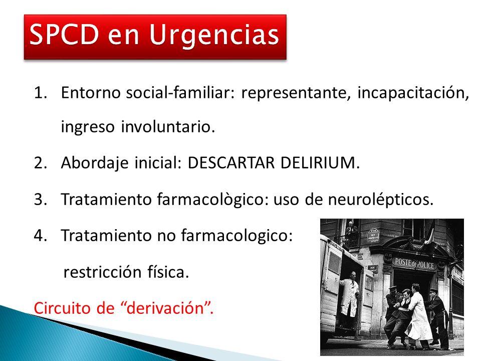 SPCD en UrgenciasEntorno social-familiar: representante, incapacitación, ingreso involuntario. Abordaje inicial: DESCARTAR DELIRIUM.