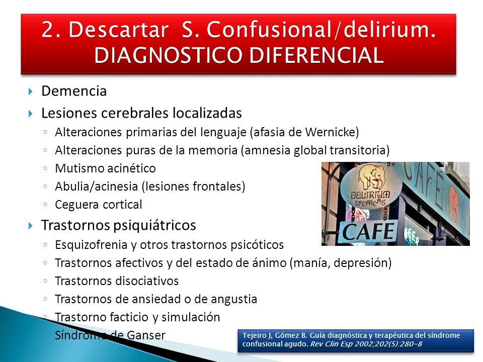 2. Descartar S. Confusional/delirium. DIAGNOSTICO DIFERENCIAL