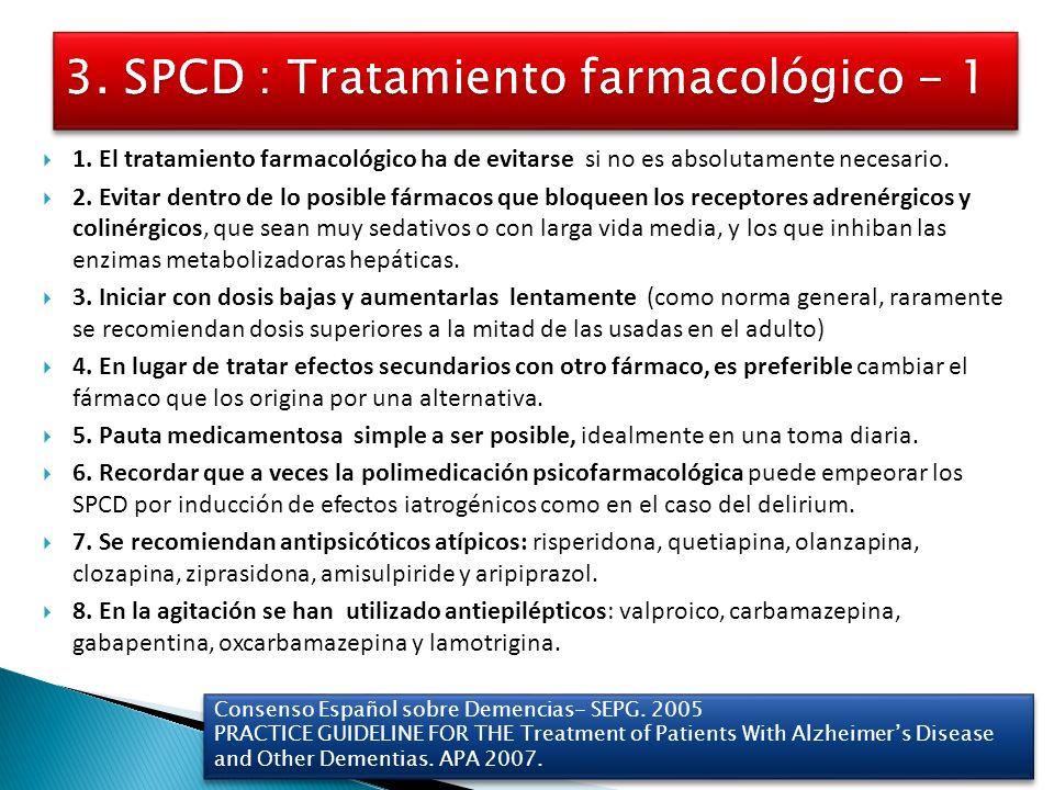 3. SPCD : Tratamiento farmacológico - 1