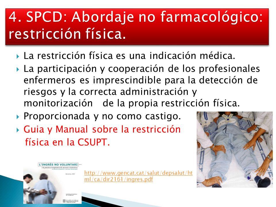 4. SPCD: Abordaje no farmacológico: restricción física.
