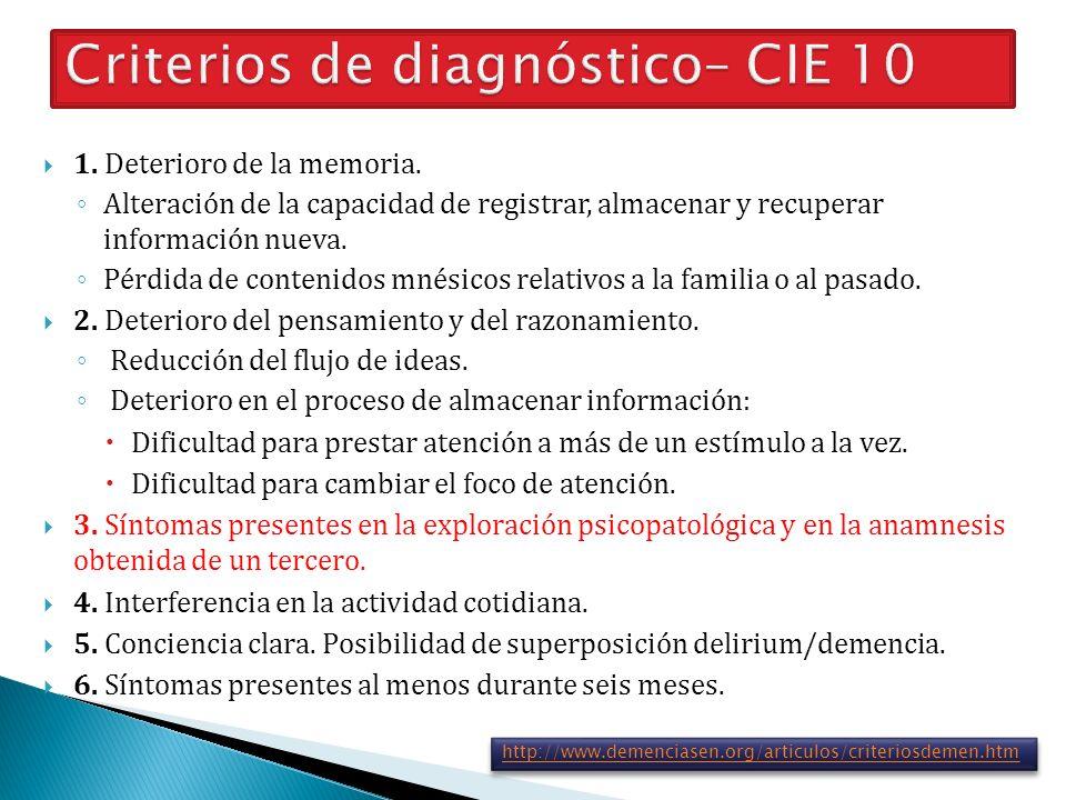 Criterios de diagnóstico– CIE 10