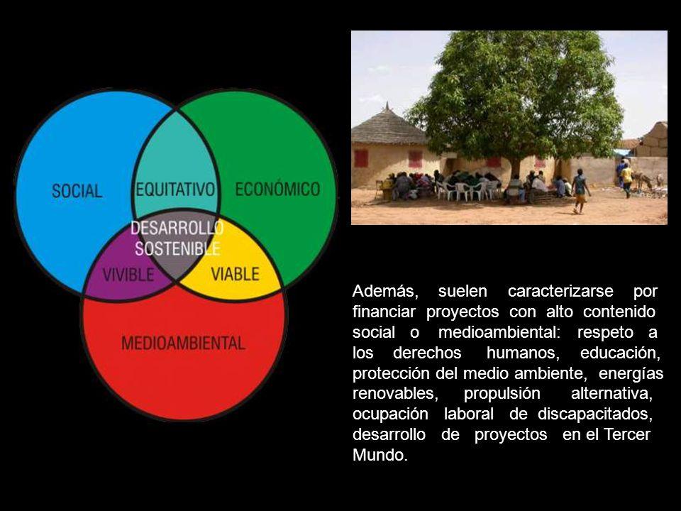Además, suelen caracterizarse por financiar proyectos con alto contenido social o medioambiental: respeto a los derechos humanos, educación, protección del medio ambiente, energías renovables, propulsión alternativa, ocupación laboral de discapacitados, desarrollo de proyectos en el Tercer Mundo.