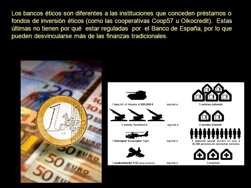 Los bancos éticos son diferentes a las instituciones que conceden préstamos o fondos de inversión éticos (como las cooperativas Coop57 u Oikocredit).