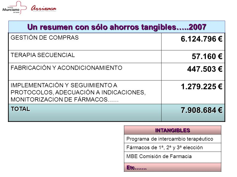 Un resumen con sólo ahorros tangibles…..2007