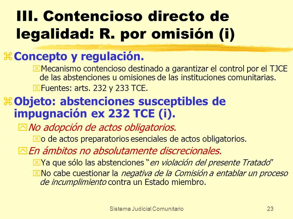 III. Contencioso directo de legalidad: R. por omisión (i)