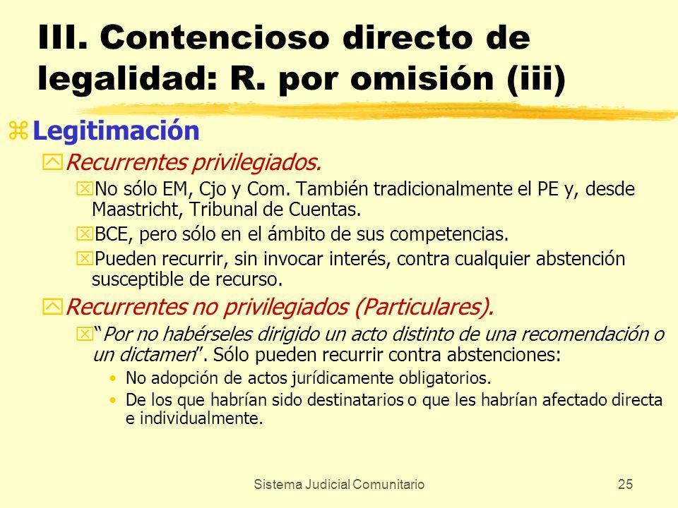 III. Contencioso directo de legalidad: R. por omisión (iii)