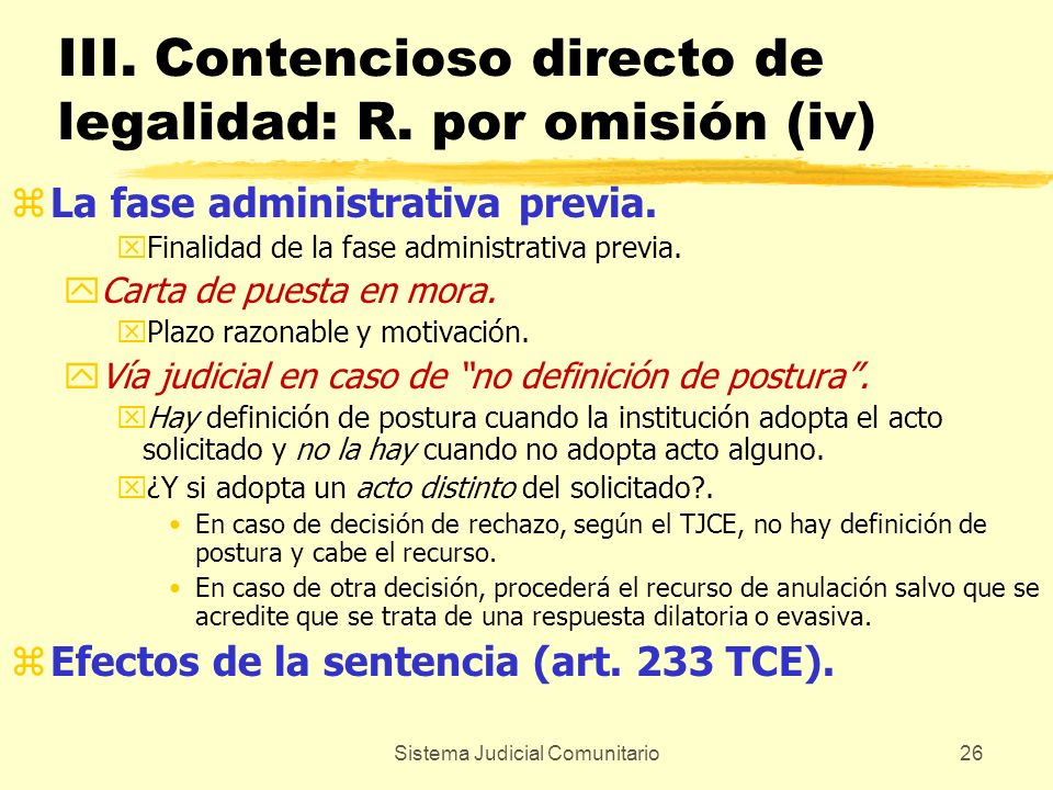 III. Contencioso directo de legalidad: R. por omisión (iv)