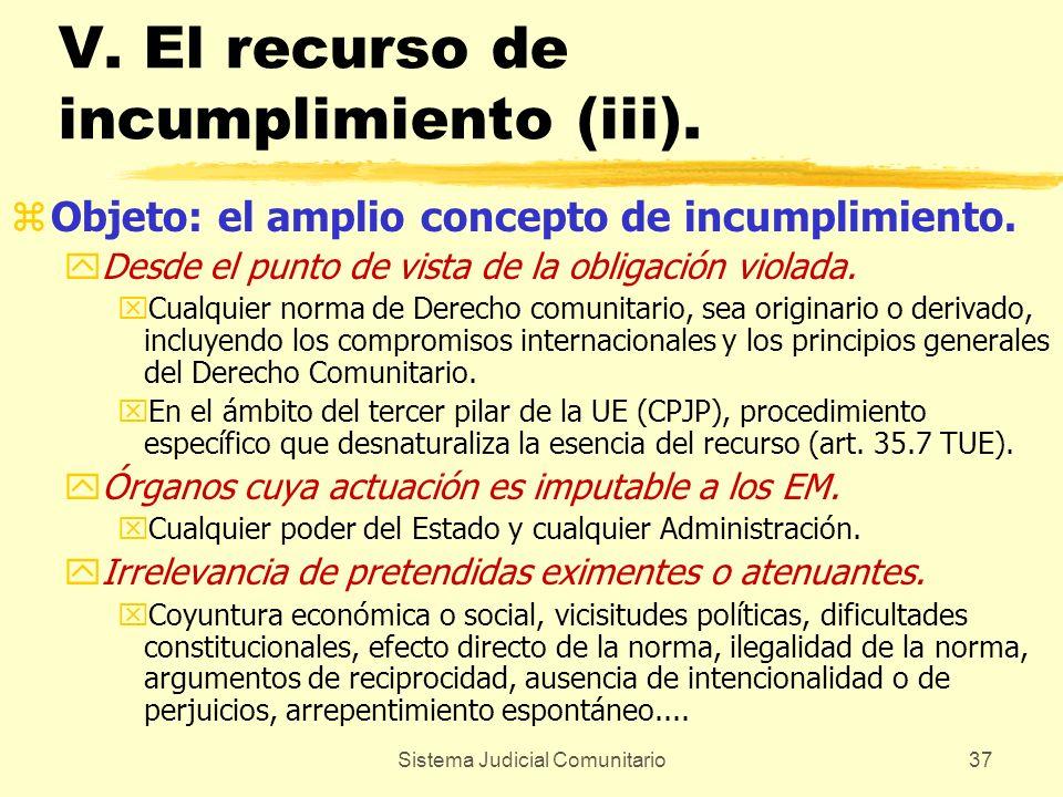 V. El recurso de incumplimiento (iii).