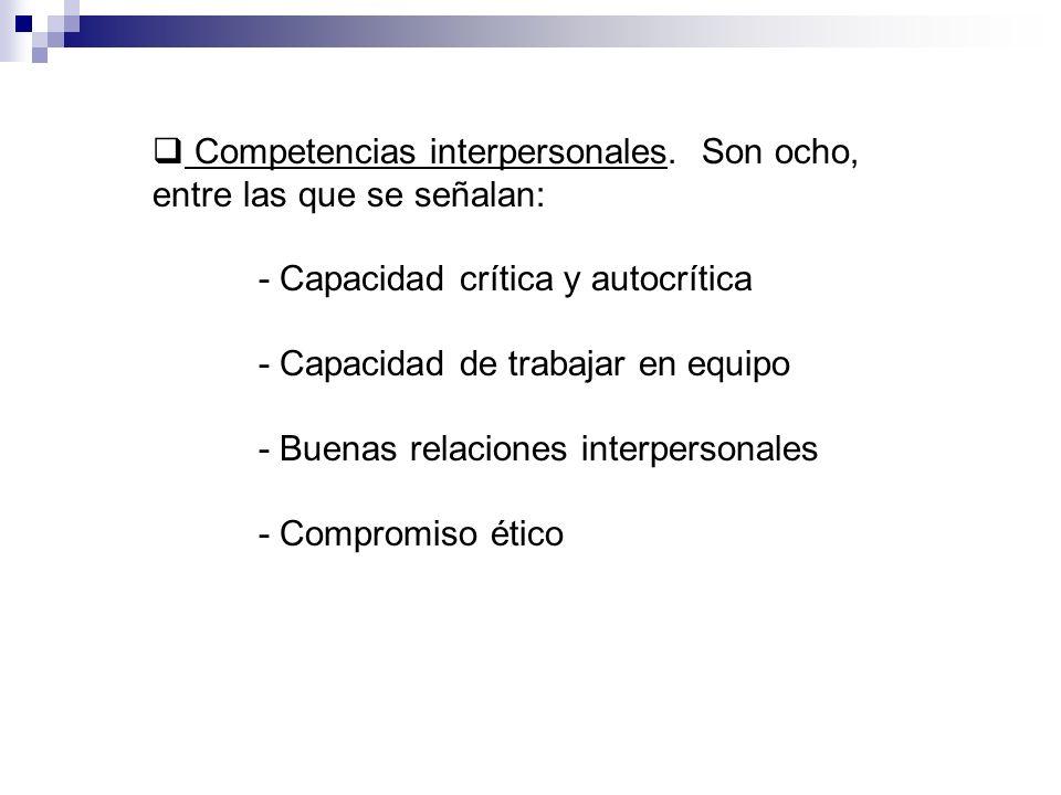 Competencias interpersonales. Son ocho, entre las que se señalan: