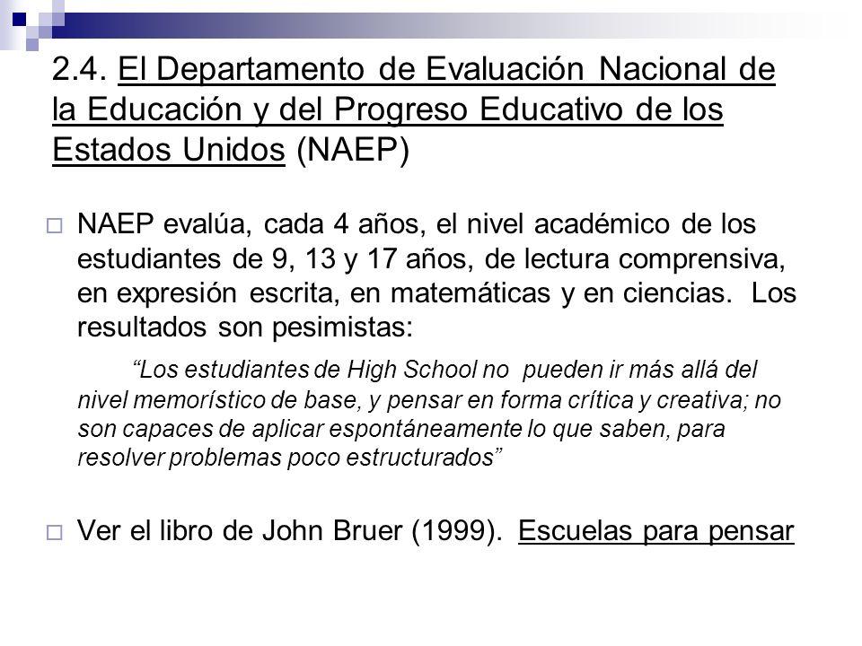 2.4. El Departamento de Evaluación Nacional de la Educación y del Progreso Educativo de los Estados Unidos (NAEP)