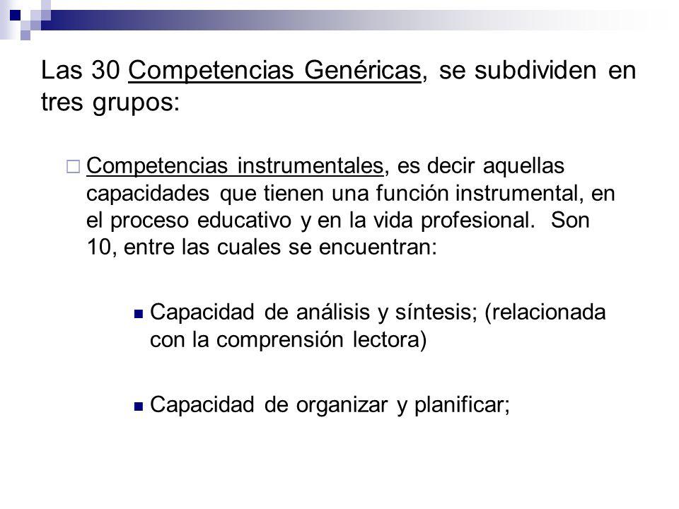 Las 30 Competencias Genéricas, se subdividen en tres grupos: