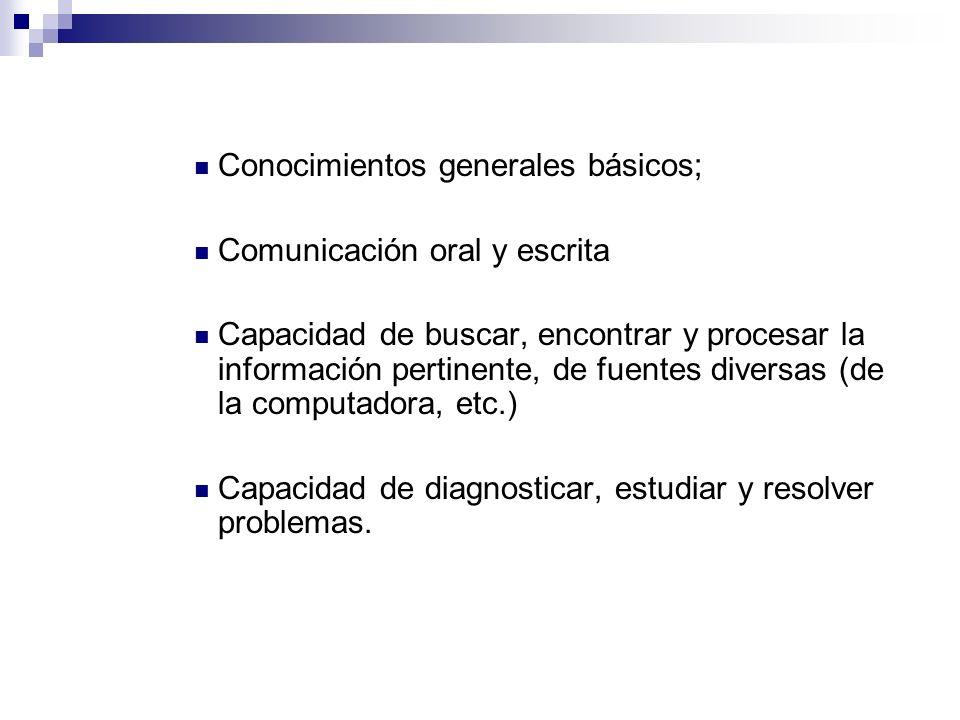 Conocimientos generales básicos;