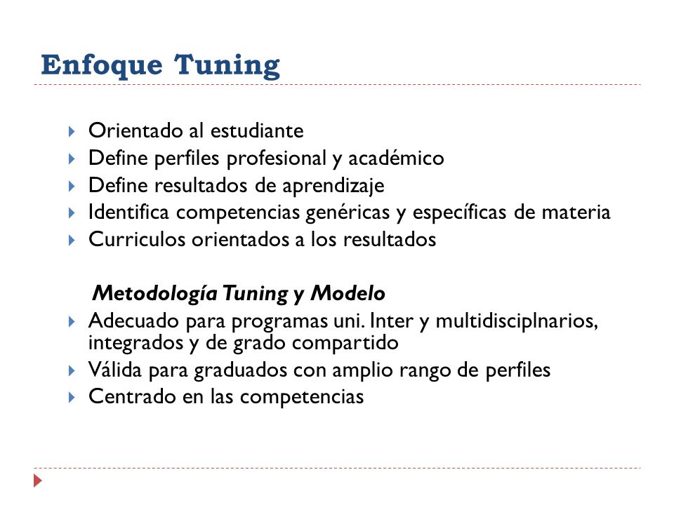Enfoque Tuning Orientado al estudiante