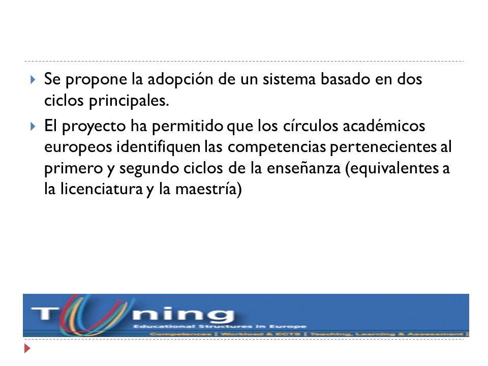 Se propone la adopción de un sistema basado en dos ciclos principales.