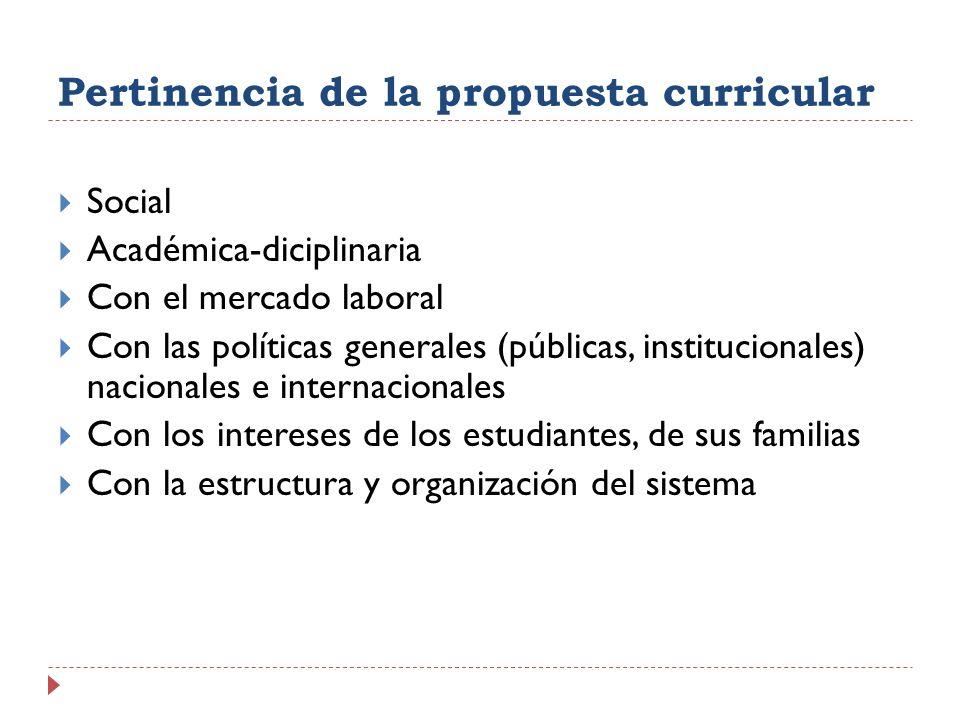 Pertinencia de la propuesta curricular