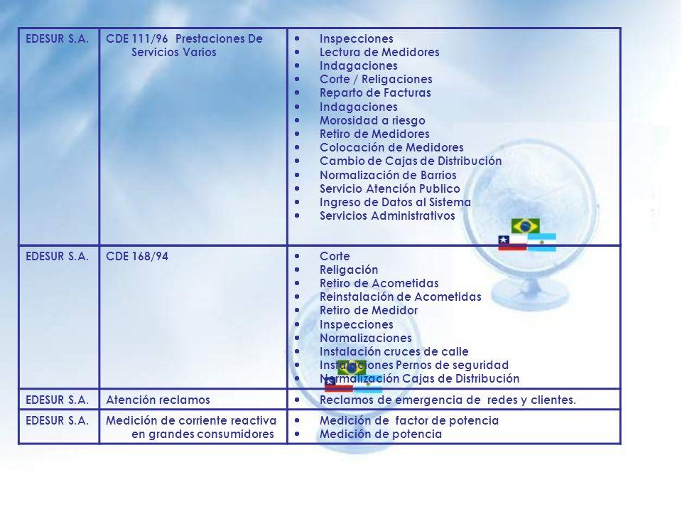 EDESUR S.A. CDE 111/96 Prestaciones De Servicios Varios. Inspecciones. Lectura de Medidores. Indagaciones.