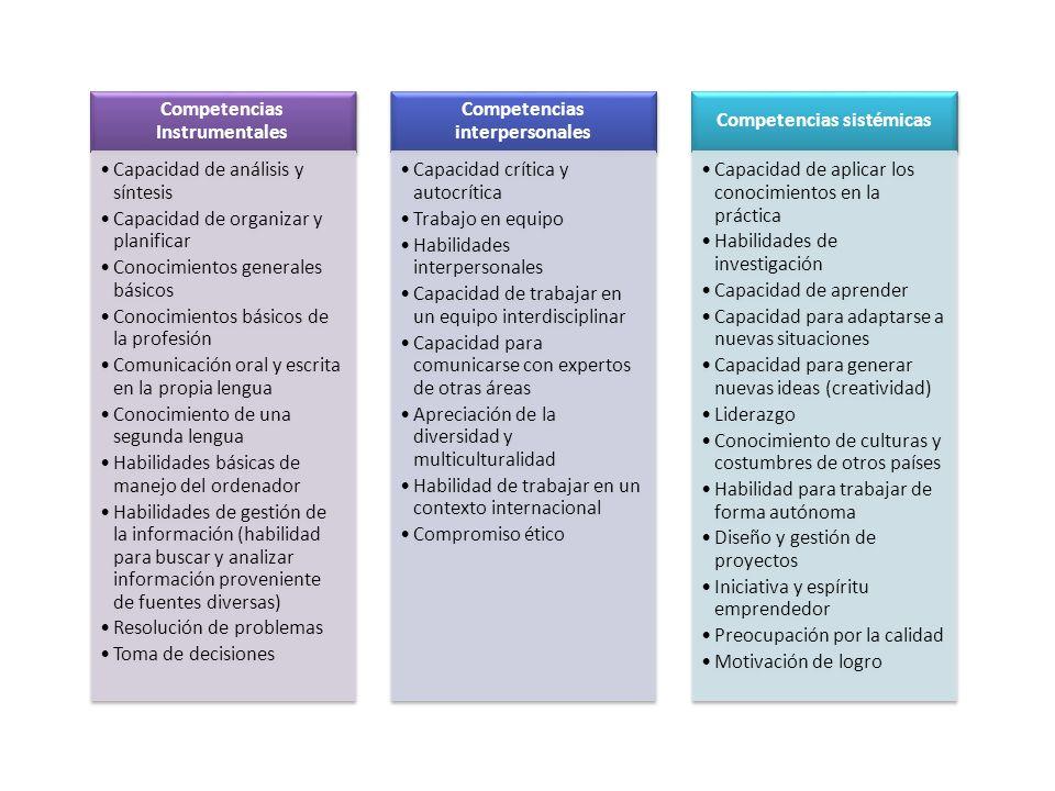 Competencias Instrumentales Capacidad de análisis y síntesis