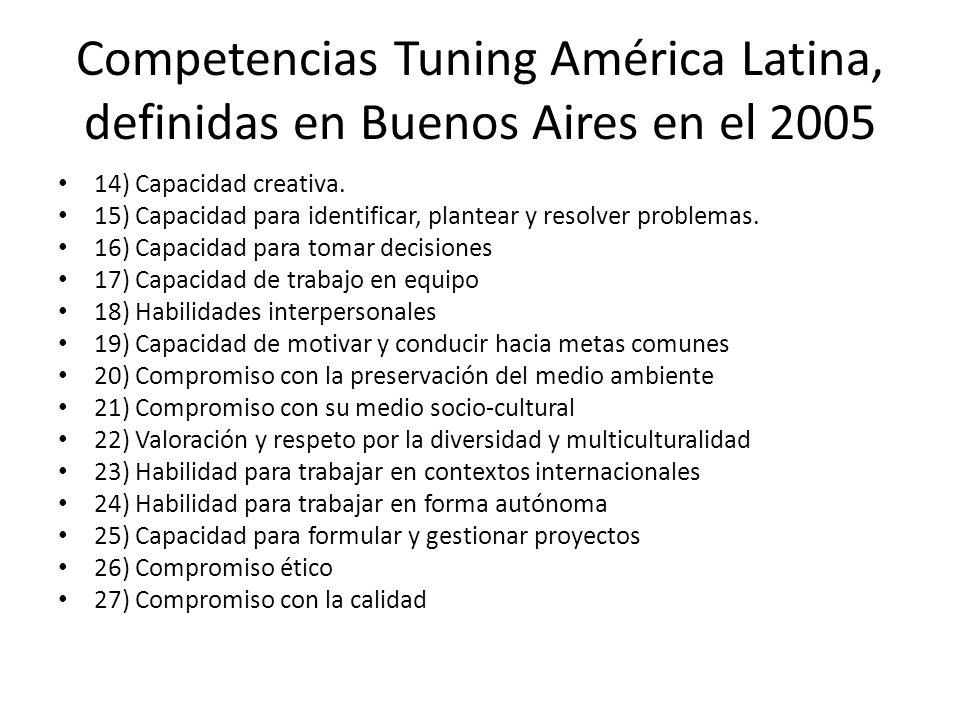 Competencias Tuning América Latina, definidas en Buenos Aires en el 2005