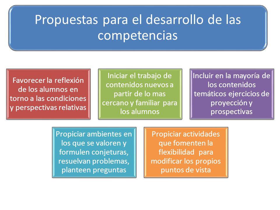 Propuestas para el desarrollo de las competencias