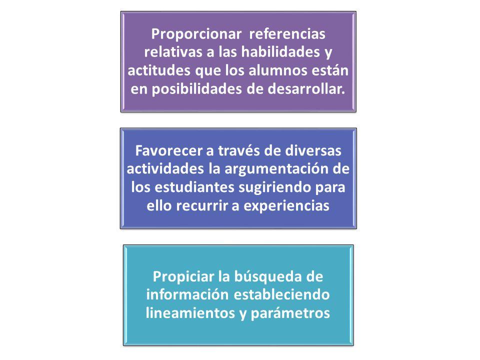 Proporcionar referencias relativas a las habilidades y actitudes que los alumnos están en posibilidades de desarrollar.