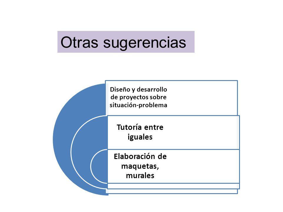 Otras sugerencias Diseño y desarrollo de proyectos sobre situación-problema. Tutoría entre iguales.
