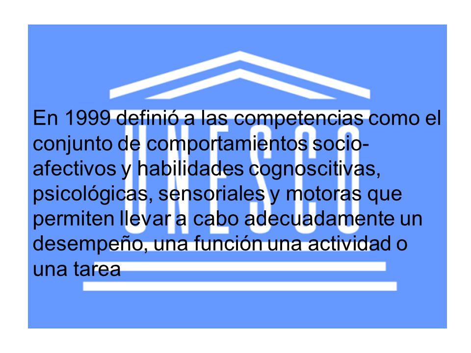 En 1999 definió a las competencias como el conjunto de comportamientos socio-afectivos y habilidades cognoscitivas, psicológicas, sensoriales y motoras que permiten llevar a cabo adecuadamente un desempeño, una función una actividad o una tarea